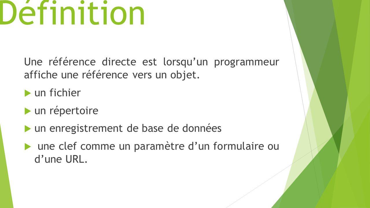 Définition Une référence directe est lorsqu'un programmeur affiche une référence vers un objet. un fichier.