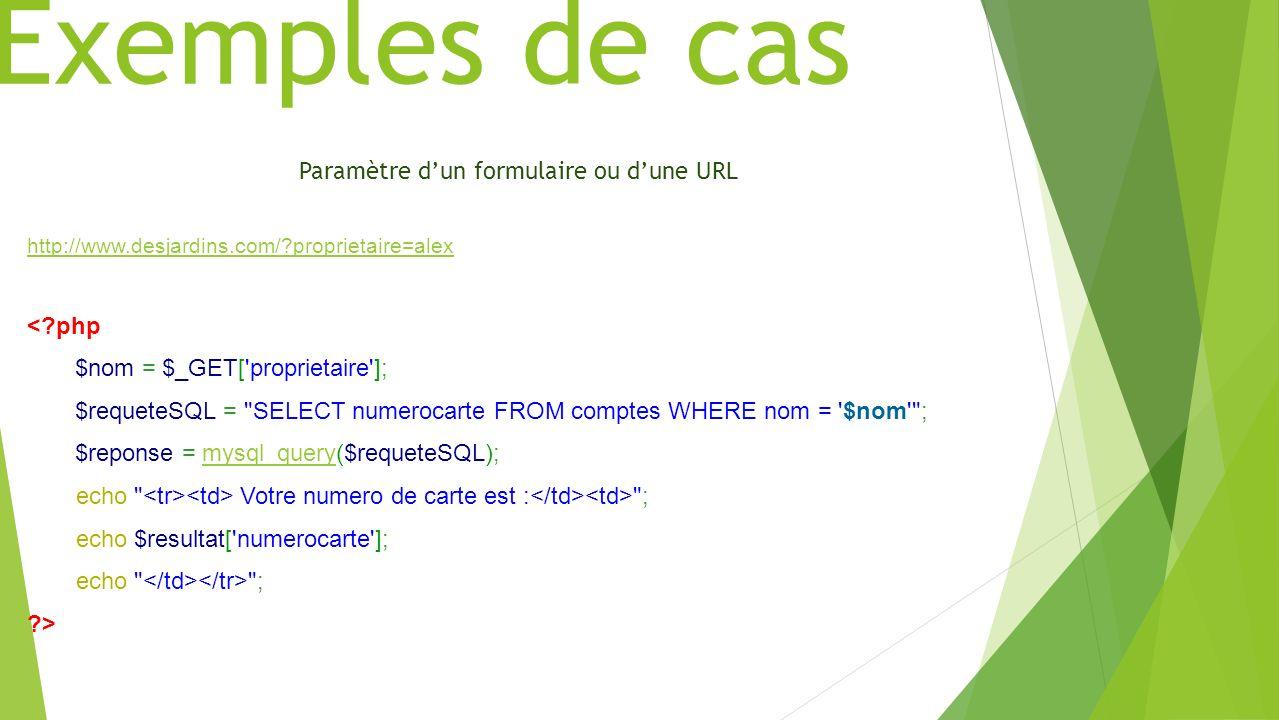 Exemples de cas Paramètre d'un formulaire ou d'une URL < php