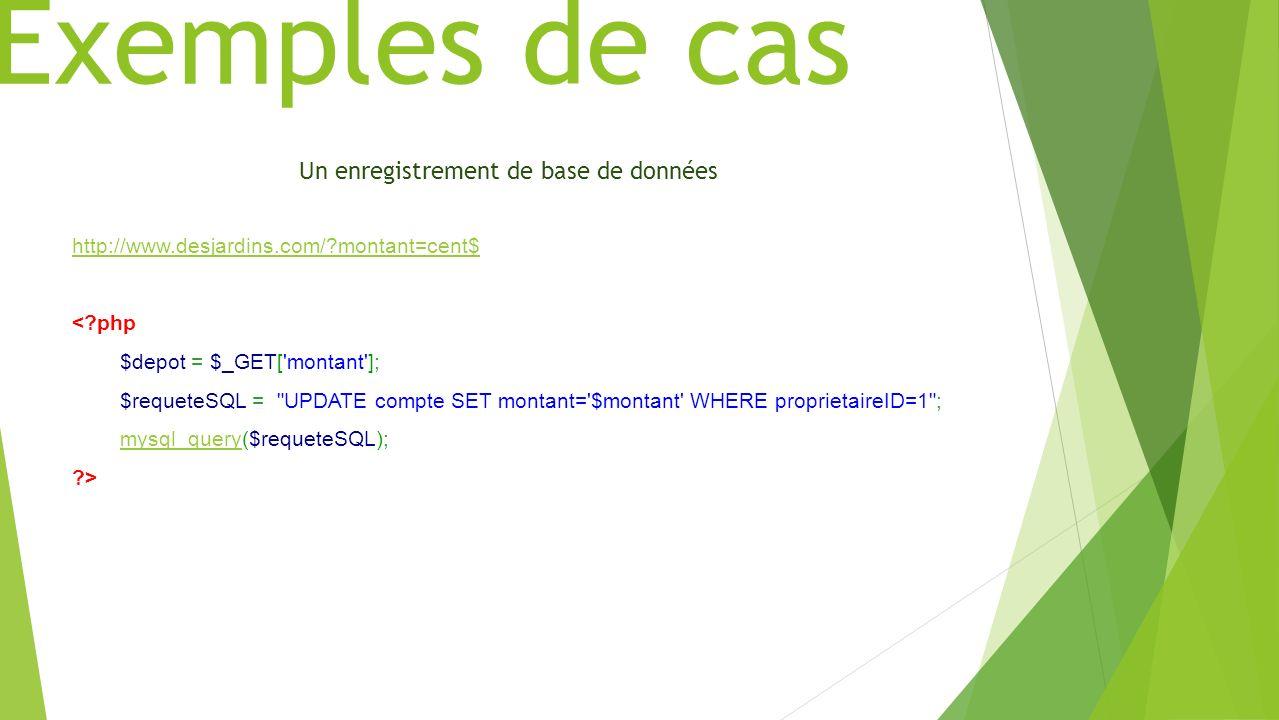 Exemples de cas Un enregistrement de base de données