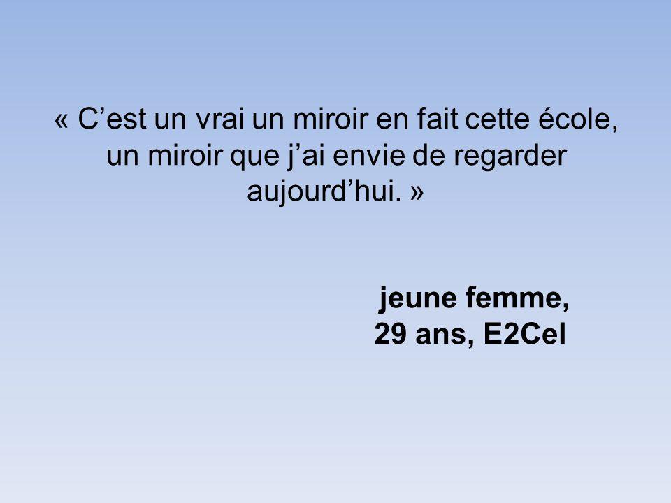 « C'est un vrai un miroir en fait cette école, un miroir que j'ai envie de regarder aujourd'hui. » jeune femme, 29 ans, E2Cel