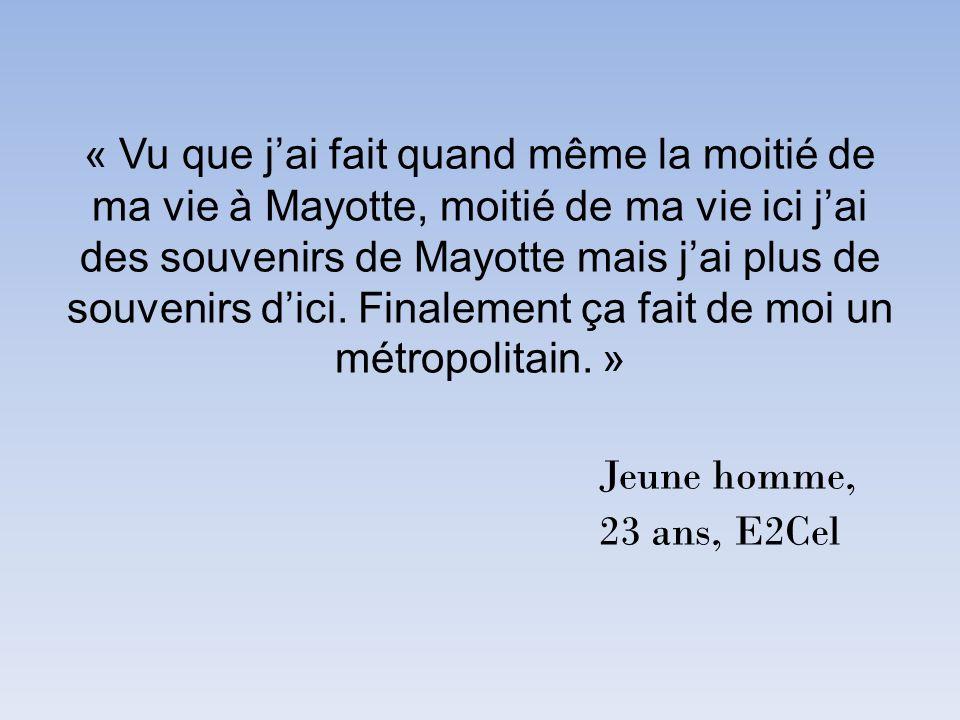 « Vu que j'ai fait quand même la moitié de ma vie à Mayotte, moitié de ma vie ici j'ai des souvenirs de Mayotte mais j'ai plus de souvenirs d'ici.