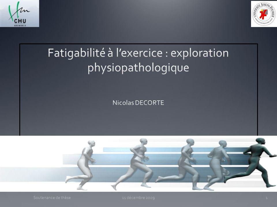 Fatigabilité à l'exercice : exploration physiopathologique