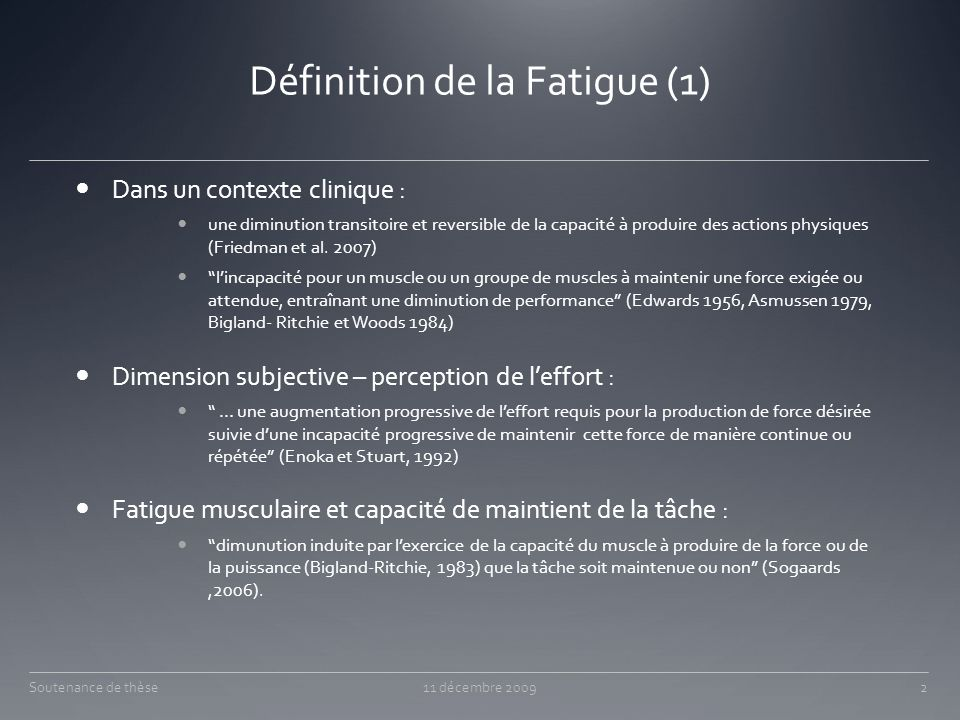 Définition de la Fatigue (1)
