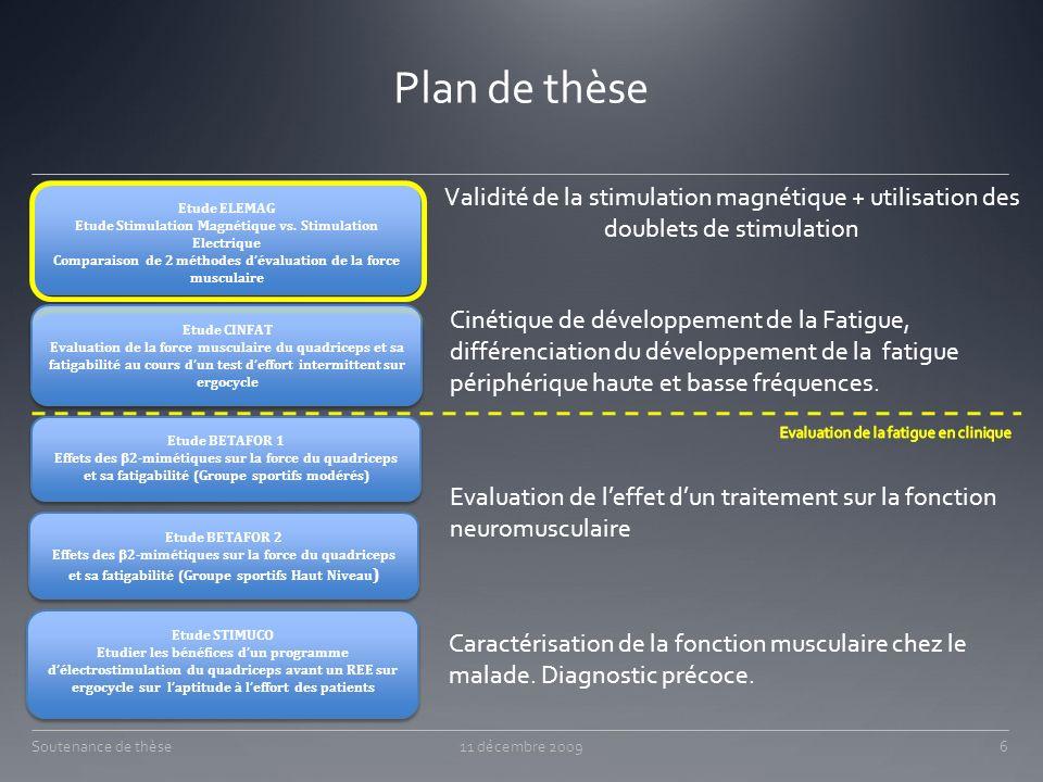 Plan de thèse Validité de la stimulation magnétique + utilisation des doublets de stimulation. Etude ELEMAG.