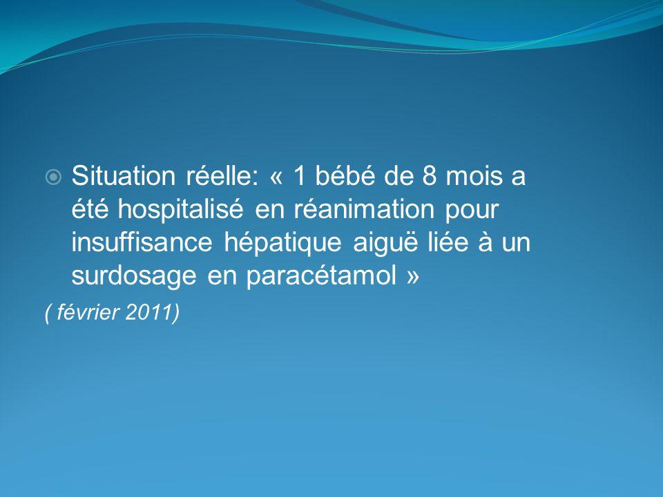 Situation réelle: « 1 bébé de 8 mois a été hospitalisé en réanimation pour insuffisance hépatique aiguë liée à un surdosage en paracétamol »
