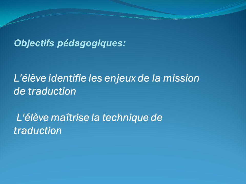 Objectifs pédagogiques: