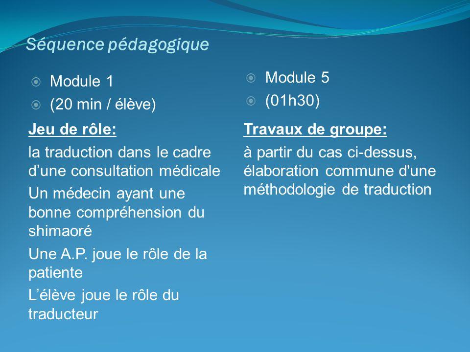 Séquence pédagogique Module 5 (01h30) Module 1 (20 min / élève)