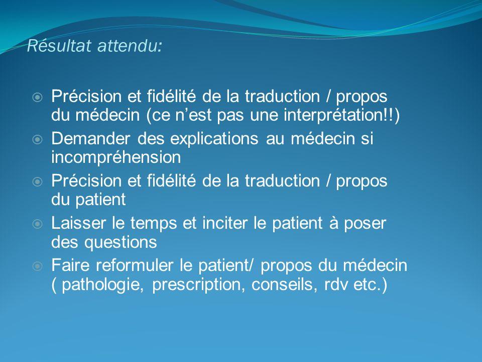 Résultat attendu: Précision et fidélité de la traduction / propos du médecin (ce n'est pas une interprétation!!)
