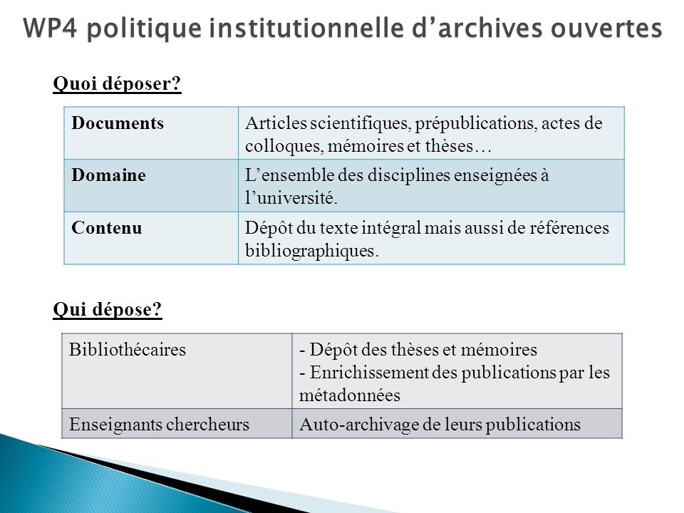WP4 politique institutionnelle d'archives ouvertes