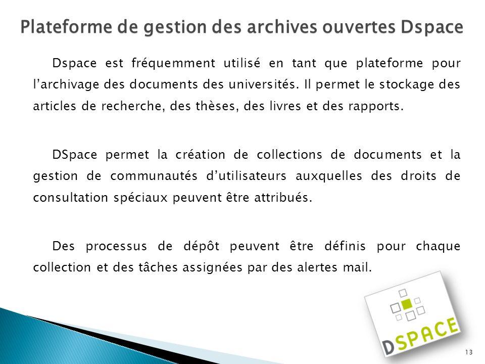 Plateforme de gestion des archives ouvertes Dspace