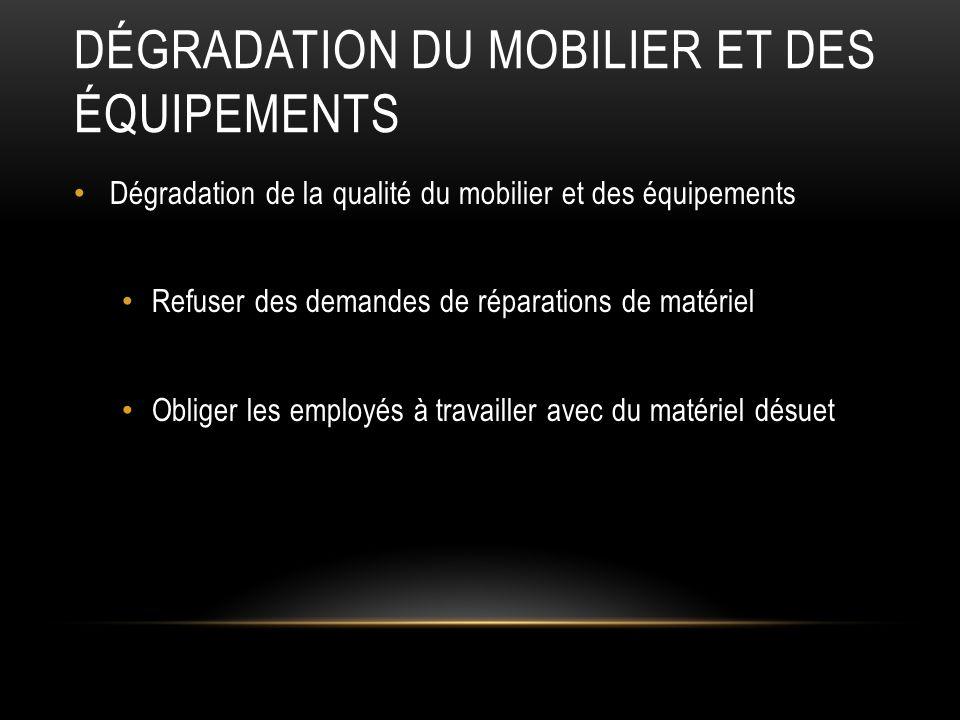 Dégradation du Mobilier et des équipements