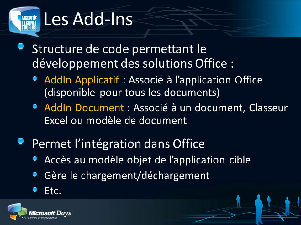 3/30/2017 1:11 AM Les Add-Ins. Structure de code permettant le développement des solutions Office :