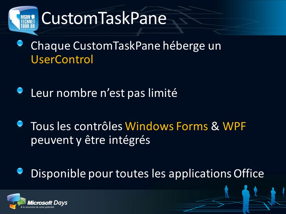 CustomTaskPane Chaque CustomTaskPane héberge un UserControl