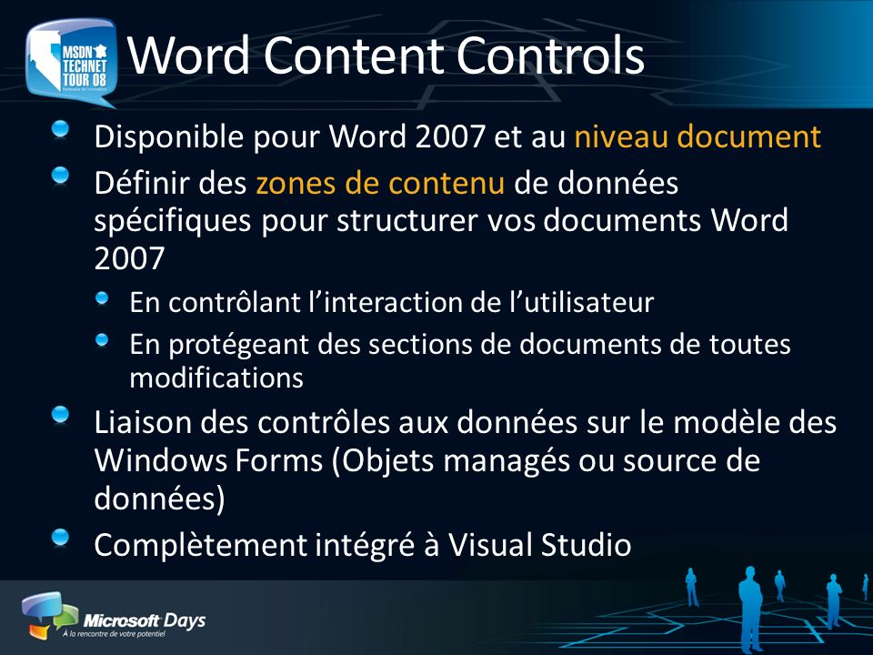 Word Content Controls Disponible pour Word 2007 et au niveau document