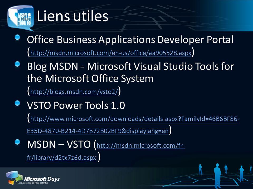 3/30/2017 1:11 AMLiens utiles. Office Business Applications Developer Portal (http://msdn.microsoft.com/en-us/office/aa905528.aspx)