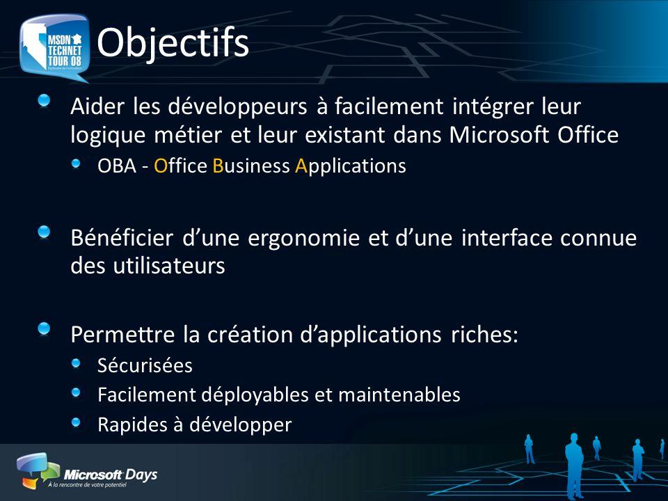 3/30/2017 1:11 AMObjectifs. Aider les développeurs à facilement intégrer leur logique métier et leur existant dans Microsoft Office.