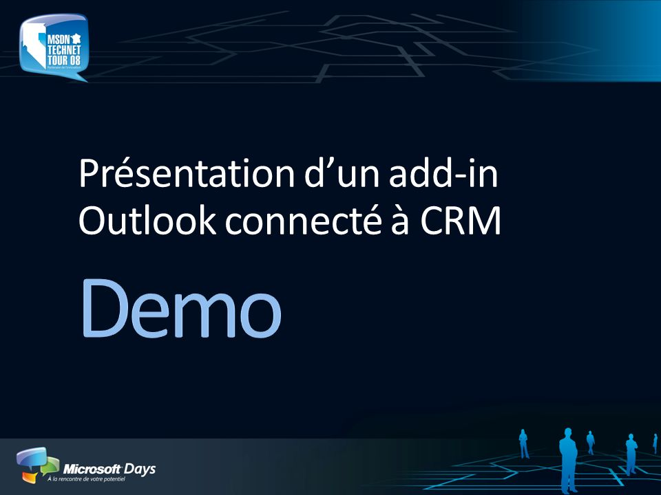 Présentation d'un add-in Outlook connecté à CRM