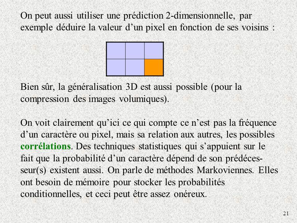 On peut aussi utiliser une prédiction 2-dimensionnelle, par exemple déduire la valeur d'un pixel en fonction de ses voisins :