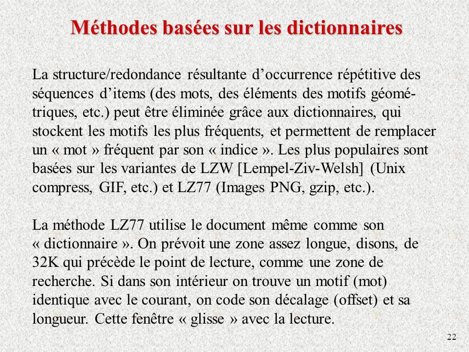Méthodes basées sur les dictionnaires