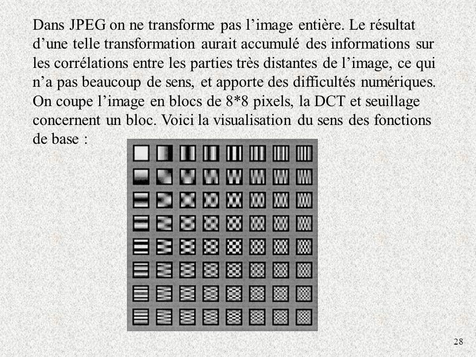 Dans JPEG on ne transforme pas l'image entière