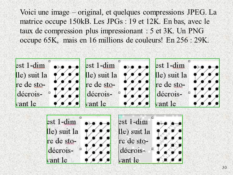 Voici une image – original, et quelques compressions JPEG