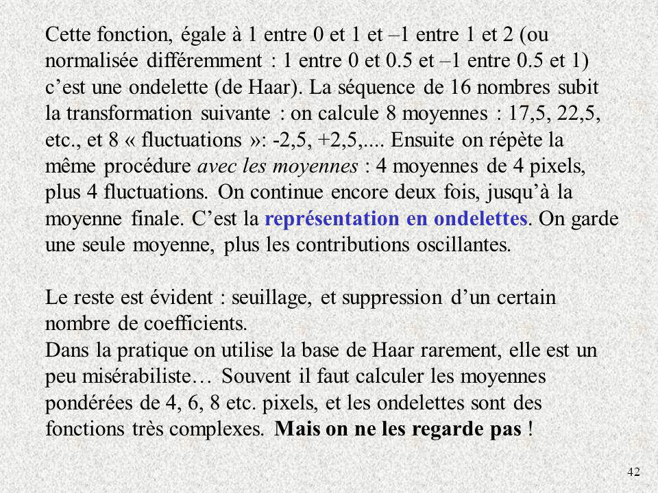 Cette fonction, égale à 1 entre 0 et 1 et –1 entre 1 et 2 (ou normalisée différemment : 1 entre 0 et 0.5 et –1 entre 0.5 et 1) c'est une ondelette (de Haar). La séquence de 16 nombres subit la transformation suivante : on calcule 8 moyennes : 17,5, 22,5, etc., et 8 « fluctuations »: -2,5, +2,5,.... Ensuite on répète la même procédure avec les moyennes : 4 moyennes de 4 pixels, plus 4 fluctuations. On continue encore deux fois, jusqu'à la moyenne finale. C'est la représentation en ondelettes. On garde une seule moyenne, plus les contributions oscillantes.