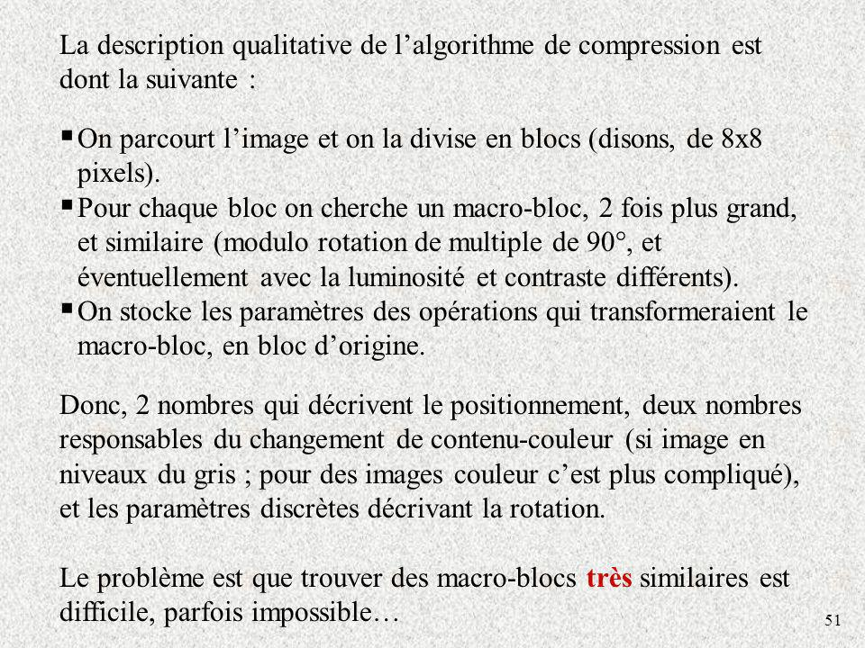 On parcourt l'image et on la divise en blocs (disons, de 8x8 pixels).