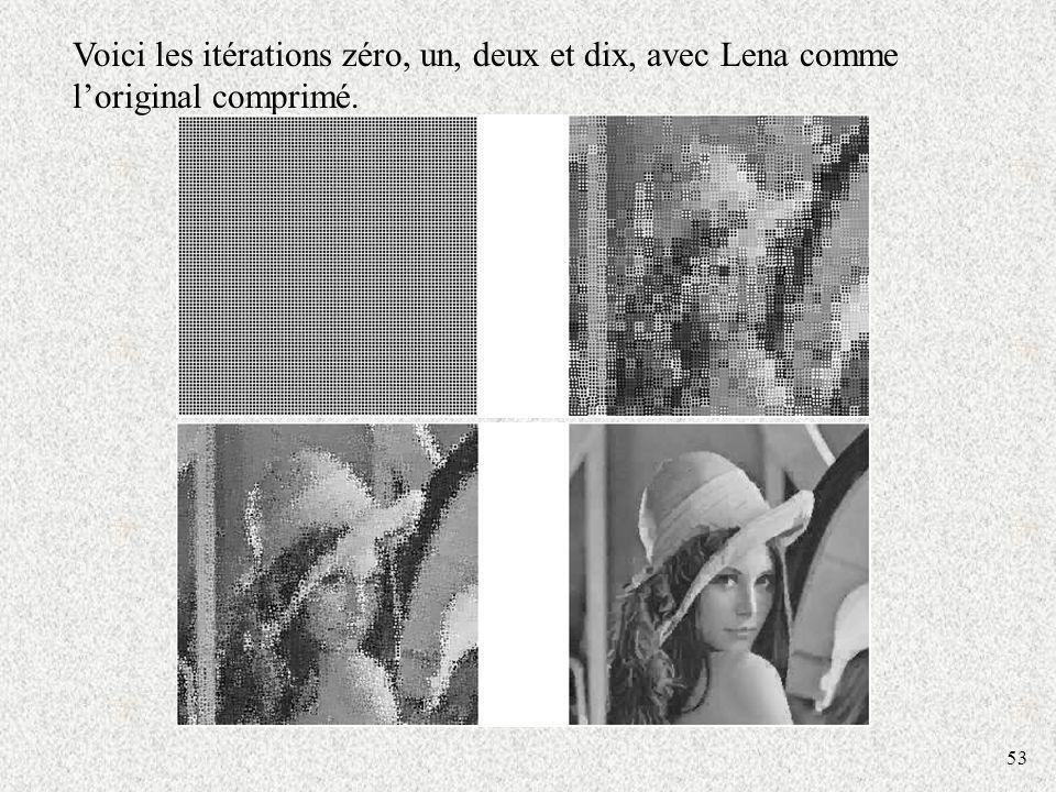 Voici les itérations zéro, un, deux et dix, avec Lena comme l'original comprimé.