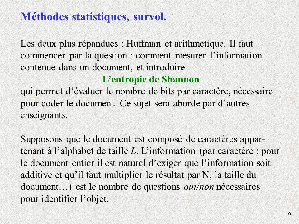 Méthodes statistiques, survol.