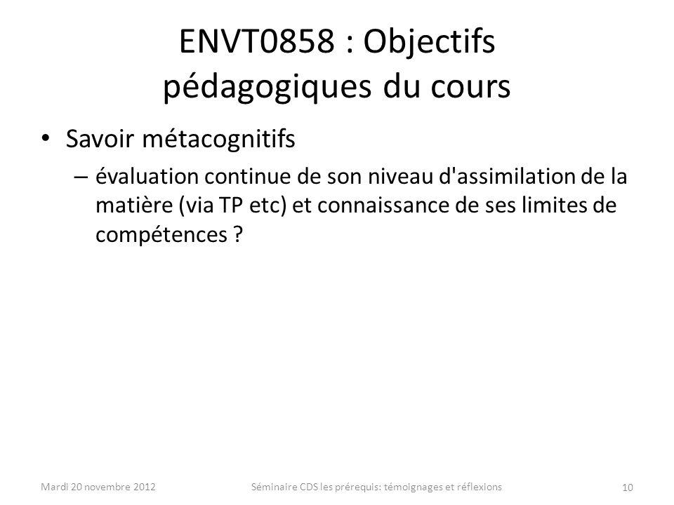 ENVT0858 : Objectifs pédagogiques du cours