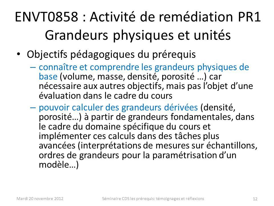 ENVT0858 : Activité de remédiation PR1 Grandeurs physiques et unités
