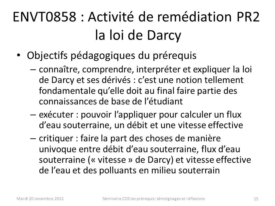 ENVT0858 : Activité de remédiation PR2 la loi de Darcy