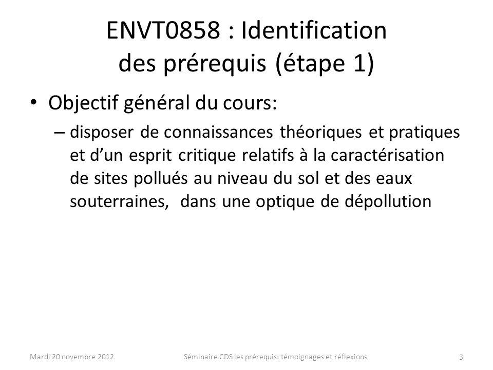 ENVT0858 : Identification des prérequis (étape 1)