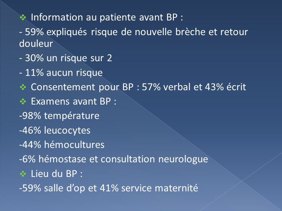 Information au patiente avant BP :