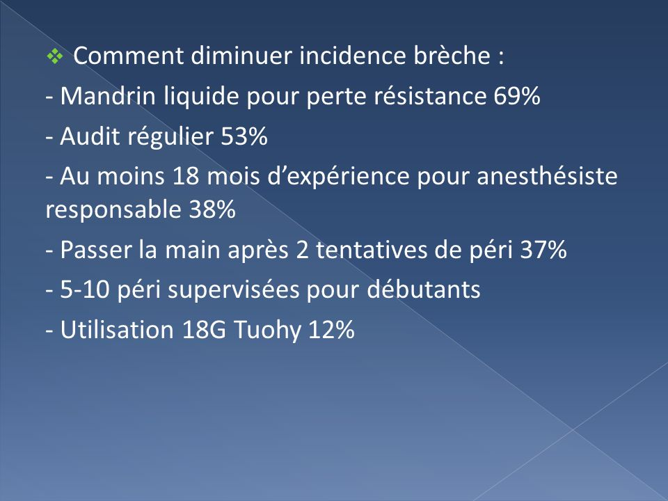 Comment diminuer incidence brèche :