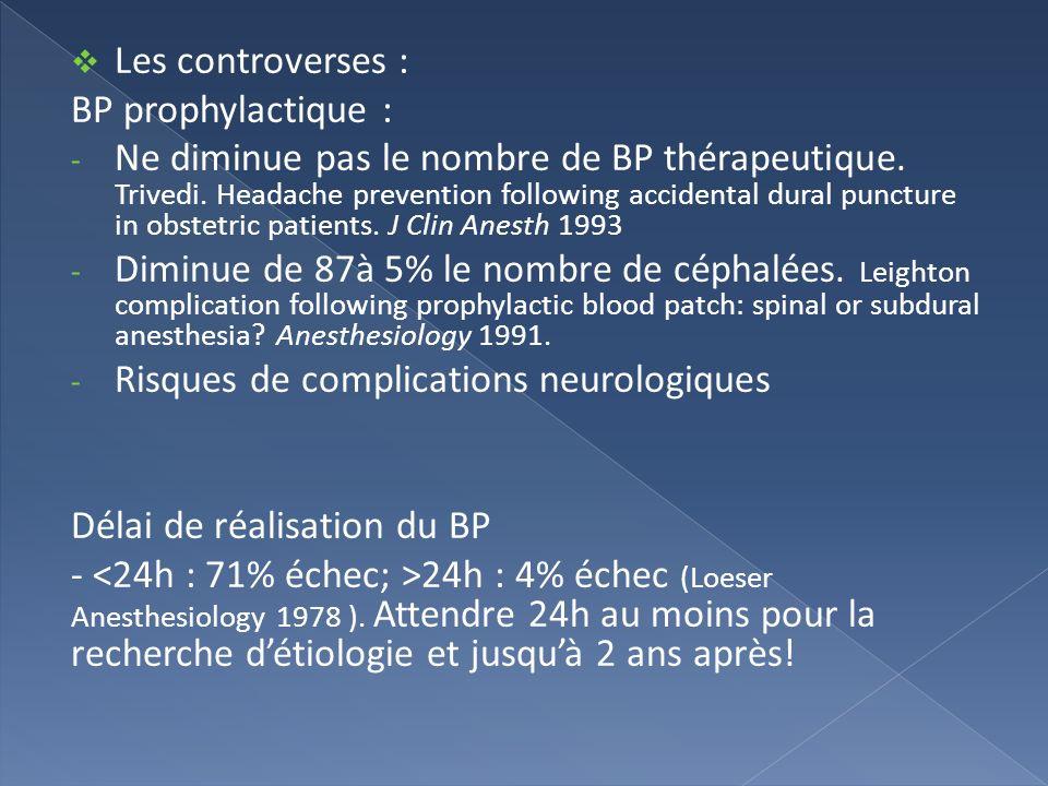 Les controverses : BP prophylactique :