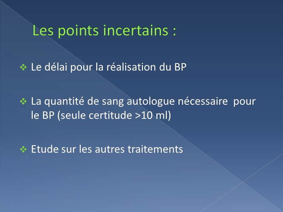 Les points incertains :