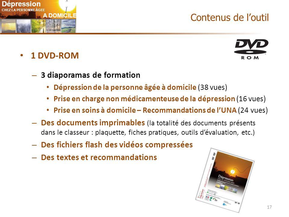 Contenus de l'outil 1 DVD-ROM 3 diaporamas de formation