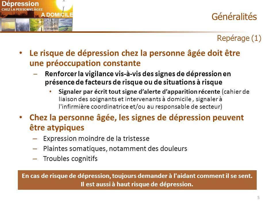 Chez la personne âgée, les signes de dépression peuvent être atypiques
