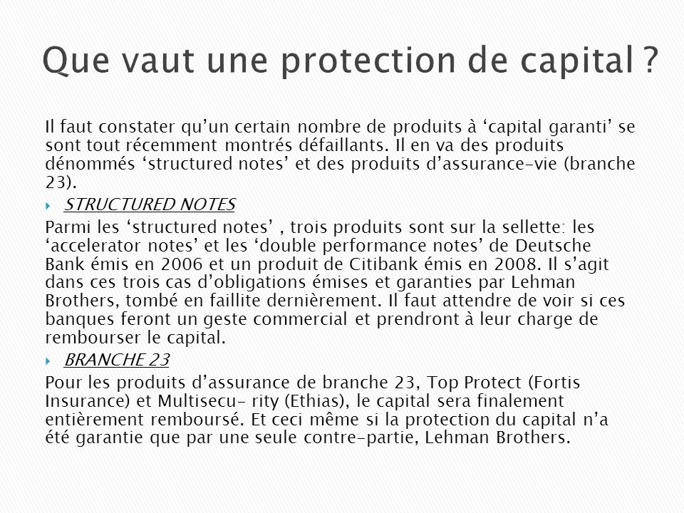 Que vaut une protection de capital