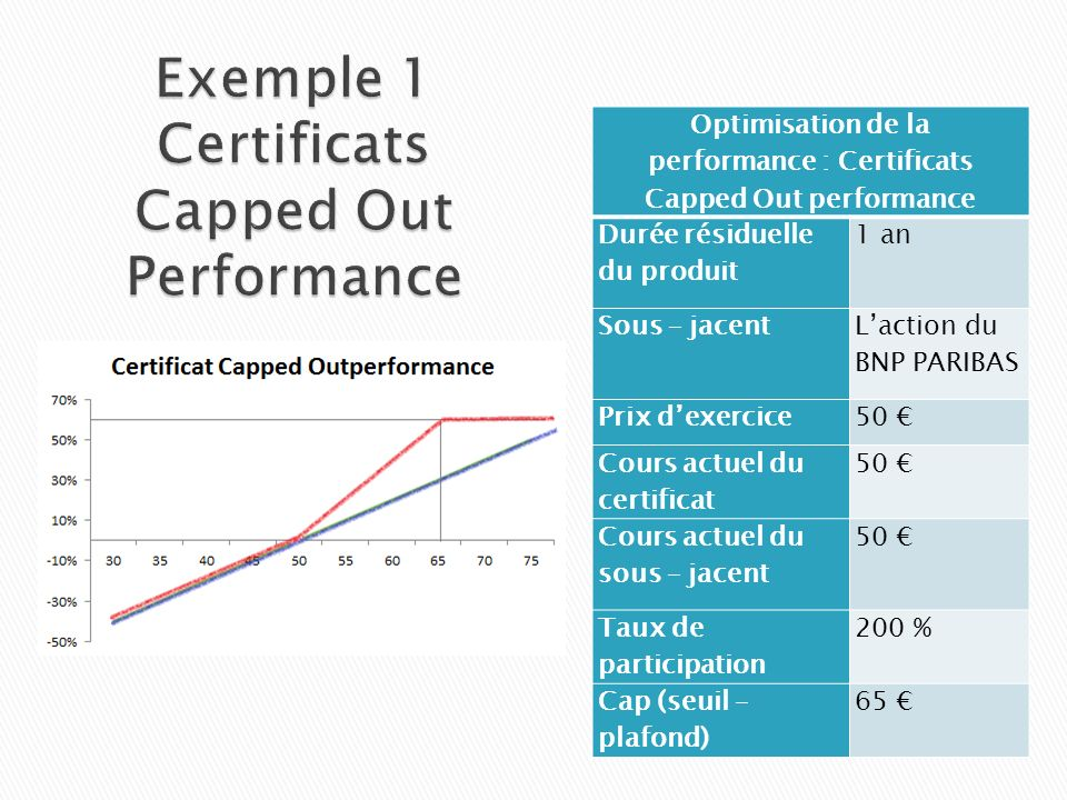 Exemple 1 Certificats Capped Out Performance