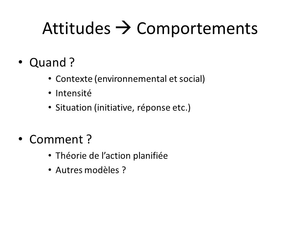 Attitudes  Comportements