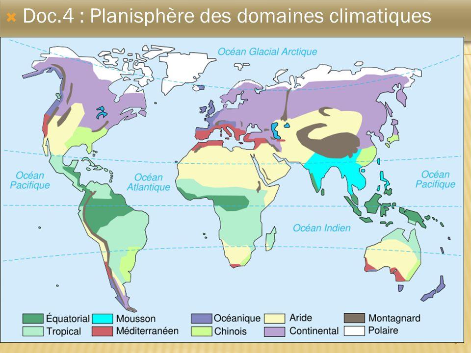 Doc.4 : Planisphère des domaines climatiques