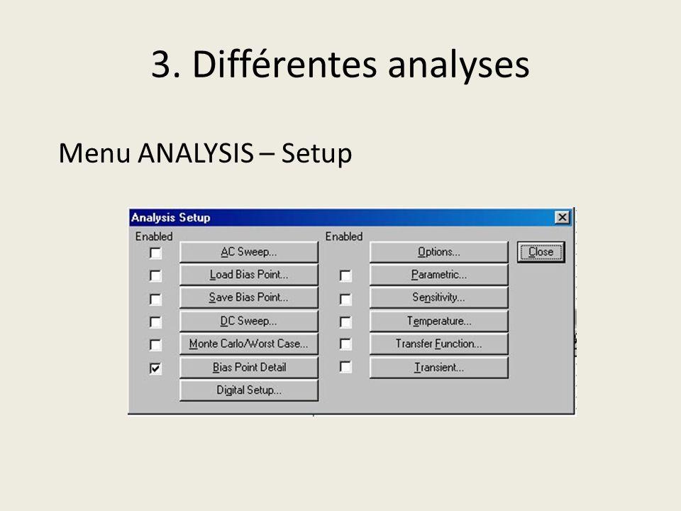 3. Différentes analyses Menu ANALYSIS – Setup Transient…