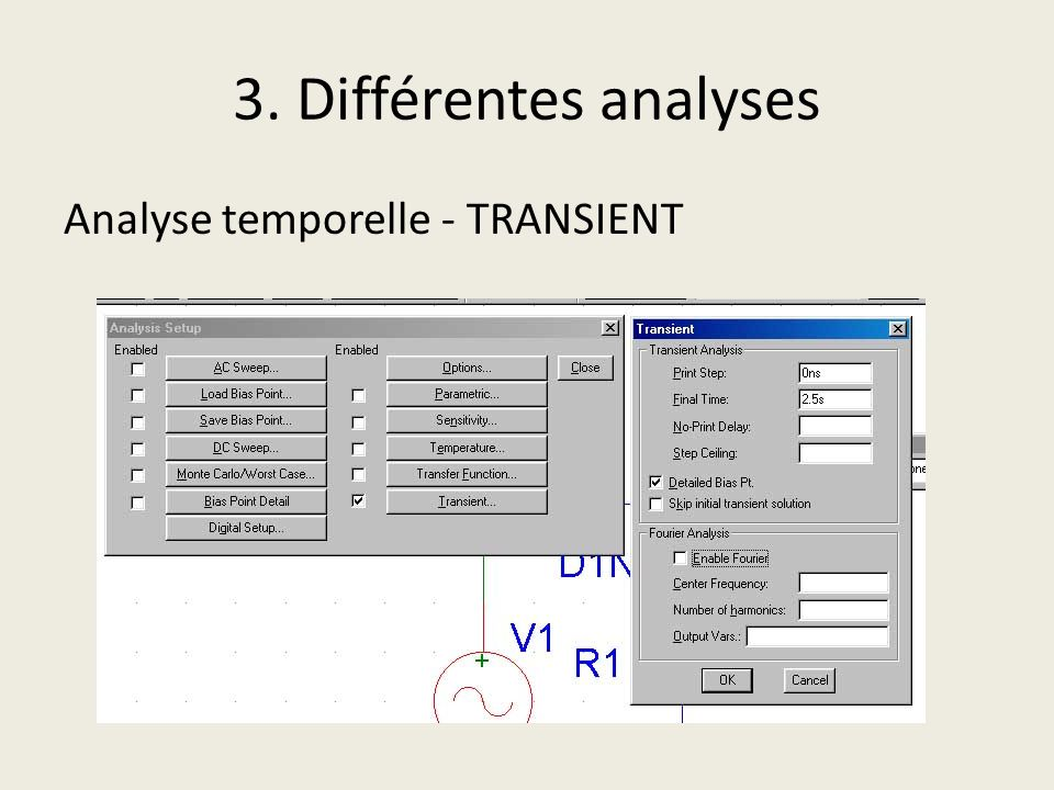 3. Différentes analyses Analyse temporelle - TRANSIENT