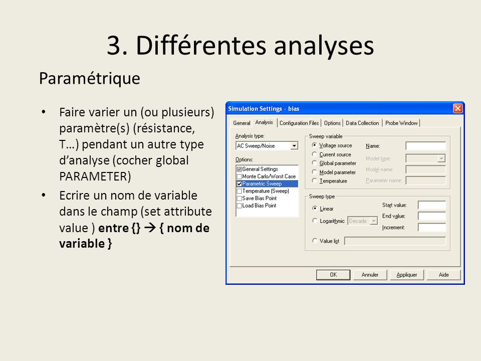 3. Différentes analyses Paramétrique