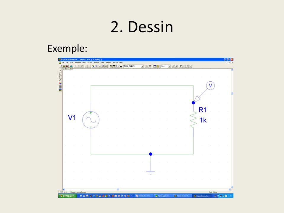2. Dessin Exemple: Lancer schematics : on est directement sur une page où l'on peut commencerà dessiner le circuit.