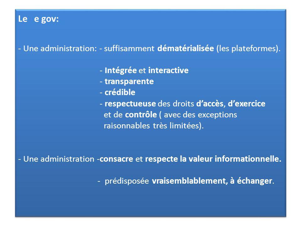 Le e gov: - Une administration: - suffisamment dématérialisée (les plateformes).