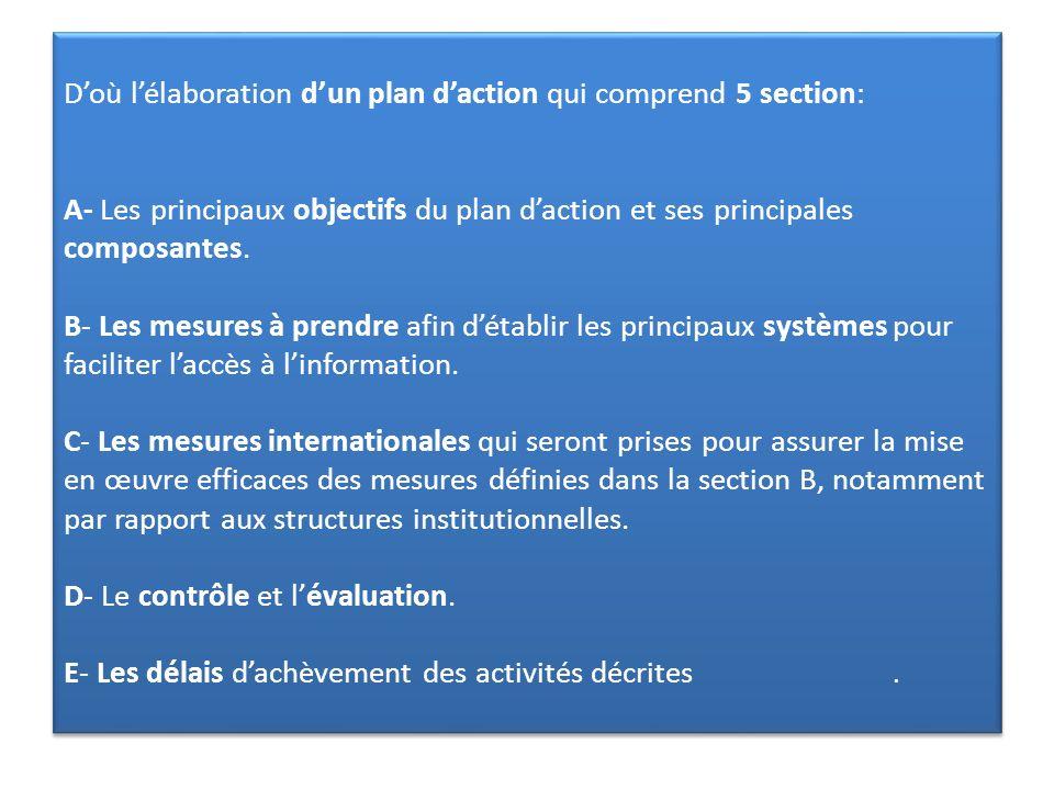 D'où l'élaboration d'un plan d'action qui comprend 5 section: A- Les principaux objectifs du plan d'action et ses principales composantes.