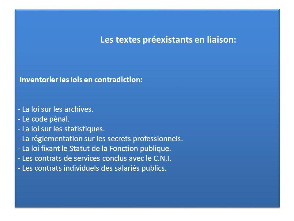 Les textes préexistants en liaison: Inventorier les lois en contradiction: - La loi sur les archives.